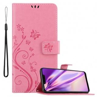 Cadorabo Hülle für Huawei MATE 20 LITE in FLORAL ROSA Handyhülle im Blumen Design mit Magnetverschluss, Standfunktion und 3 Kartenfächern Case Cover Schutzhülle Etui Tasche