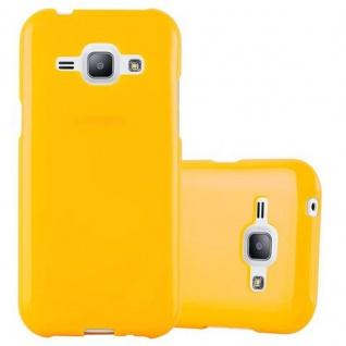 Cadorabo Hülle für Samsung Galaxy J1 2015 in JELLY GELB ? Handyhülle aus flexiblem TPU Silikon ? Silikonhülle Schutzhülle Ultra Slim Soft Back Cover Case Bumper