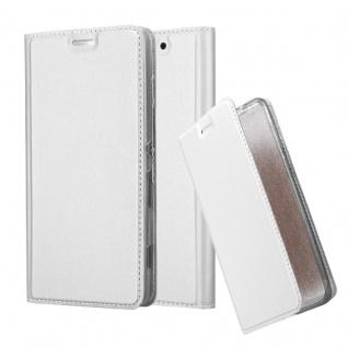 Cadorabo Hülle für Sony Xperia C4 in CLASSY SILBER - Handyhülle mit Magnetverschluss, Standfunktion und Kartenfach - Case Cover Schutzhülle Etui Tasche Book Klapp Style