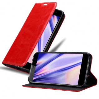 Cadorabo Hülle für ZTE Nubia N1 LITE in APFEL ROT - Handyhülle mit Magnetverschluss, Standfunktion und Kartenfach - Case Cover Schutzhülle Etui Tasche Book Klapp Style