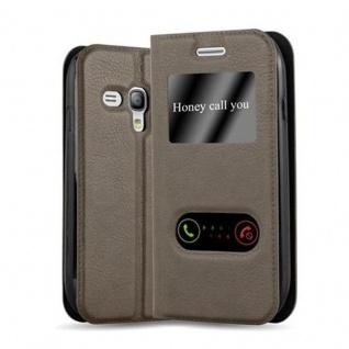 Cadorabo Hülle für Samsung Galaxy S3 MINI in STEIN BRAUN - Handyhülle mit Magnetverschluss, Standfunktion und 2 Sichtfenstern - Case Cover Schutzhülle Etui Tasche Book Klapp Style