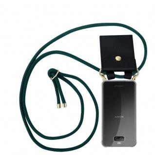 Cadorabo Handy Kette für Sony Xperia 10 in ARMEE GRÜN - Silikon Necklace Umhänge Hülle mit Gold Ringen, Kordel Band Schnur und abnehmbarem Etui ? Schutzhülle