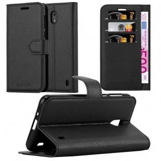 Cadorabo Hülle für Nokia 2 in PHANTOM SCHWARZ Handyhülle mit Magnetverschluss, Standfunktion und Kartenfach Case Cover Schutzhülle Etui Tasche Book Klapp Style