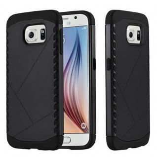 Cadorabo Hülle für Samsung Galaxy S6 - Hülle in GUARDIAN SCHWARZ - Hard Case TPU Silikon Schutzhülle für Hybrid Cover im Outdoor Heavy Duty Design