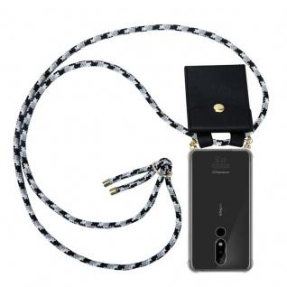Cadorabo Handy Kette für Nokia 3.1 Plus in SCHWARZ CAMOUFLAGE Silikon Necklace Umhänge Hülle mit Gold Ringen, Kordel Band Schnur und abnehmbarem Etui Schutzhülle