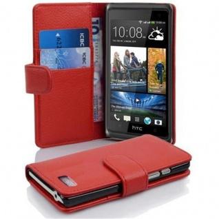 Cadorabo Hülle für HTC DESIRE 600 in INFERNO ROT ? Handyhülle aus strukturiertem Kunstleder mit Standfunktion und Kartenfach ? Case Cover Schutzhülle Etui Tasche Book Klapp Style