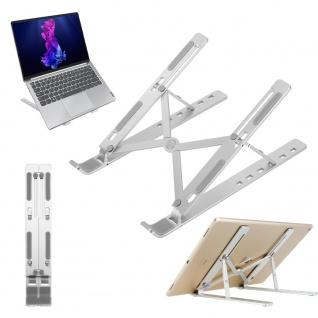 Cadorabo Tablet Halterung in Silber - Tragbarer und Ergonomischer Tabletständer - Laptop Halter Computerhalterung Notebook Ständer - 6-Fach höhenverstellbar