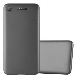 Cadorabo Hülle für Sony Xperia XZ1 in METALLIC GRAU - Handyhülle aus flexiblem TPU Silikon - Silikonhülle Schutzhülle Ultra Slim Soft Back Cover Case Bumper