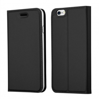 Cadorabo Hülle für Apple iPhone 6 / iPhone 6S - Hülle in SCHWARZ ? Handyhülle mit Standfunktion und Kartenfach im Metallic Look - Case Cover Schutzhülle Etui Tasche Book Klapp Style