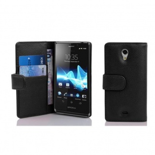 Cadorabo Hülle für Sony Xperia T in OXID SCHWARZ - Handyhülle aus strukturiertem Kunstleder mit Standfunktion und Kartenfach - Case Cover Schutzhülle Etui Tasche Book Klapp Style