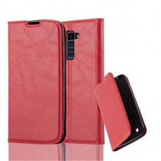 Cadorabo Hülle für LG K10 2016 in APFEL ROT Handyhülle mit Magnetverschluss, Standfunktion und Kartenfach Case Cover Schutzhülle Etui Tasche Book Klapp Style