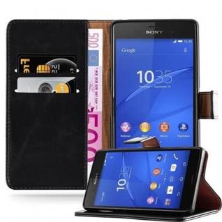 Cadorabo Hülle für Sony Xperia Z3 in GRAPHIT SCHWARZ ? Handyhülle mit Magnetverschluss, Standfunktion und Kartenfach ? Case Cover Schutzhülle Etui Tasche Book Klapp Style