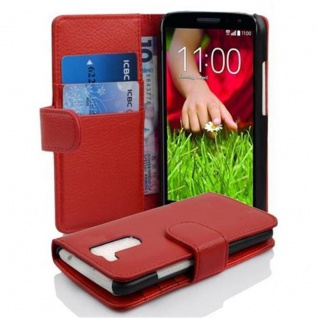 Cadorabo Hülle für LG G2 MINI - Hülle in INFERNO ROT ? Handyhülle mit Kartenfach aus struktriertem Kunstleder - Case Cover Schutzhülle Etui Tasche Book Klapp Style