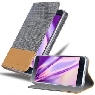 Cadorabo Hülle für Asus ZenFone 3 in HELL GRAU BRAUN - Handyhülle mit Magnetverschluss, Standfunktion und Kartenfach - Case Cover Schutzhülle Etui Tasche Book Klapp Style