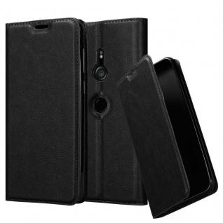 Cadorabo Hülle für Sony Xperia XZ3 in NACHT SCHWARZ - Handyhülle mit Magnetverschluss, Standfunktion und Kartenfach - Case Cover Schutzhülle Etui Tasche Book Klapp Style