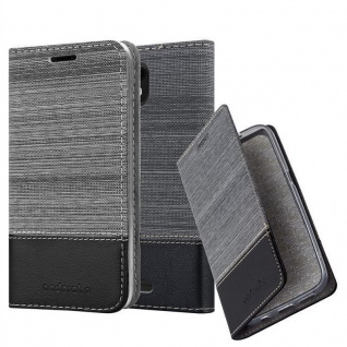 Cadorabo Hülle für WIKO VIEW GO in GRAU SCHWARZ - Handyhülle mit Magnetverschluss, Standfunktion und Kartenfach - Case Cover Schutzhülle Etui Tasche Book Klapp Style