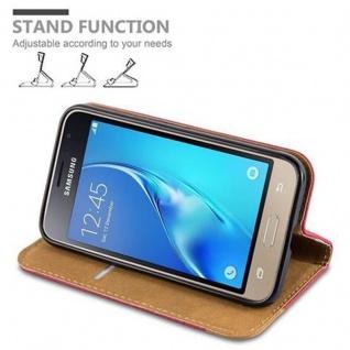 Cadorabo Hülle für Samsung Galaxy J1 2016 - Hülle in HERBST ROT ? Handyhülle mit Standfunktion, Kartenfach und Textil-Patch - Case Cover Schutzhülle Etui Tasche Book Klapp Style - Vorschau 5