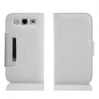 Cadorabo Hülle für Samsung Galaxy S3 / S3 NEO - Hülle in WEIß BRAUN ? Handyhülle mit Kartenfach und Magnetverschluss im Slim Design - Case Cover Schutzhülle Etui Tasche Book Klapp Style