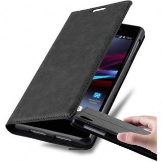 Cadorabo Hülle für Sony Xperia Z1 in NACHT SCHWARZ - Handyhülle mit Magnetverschluss, Standfunktion und Kartenfach - Case Cover Schutzhülle Etui Tasche Book Klapp Style