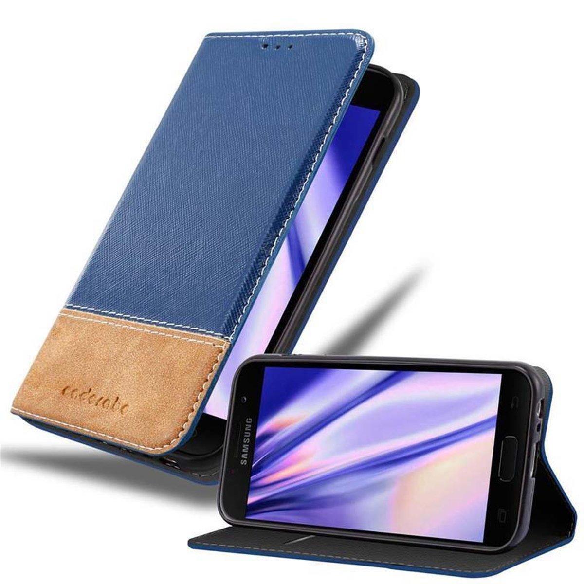 Cadorabo Hülle für Samsung Galaxy A5 2017 in BLAU BRAUN ? Handyhülle mit Magnetverschluss, Standfunktion und Kartenfach ? Case Cover Schutzhülle Etui