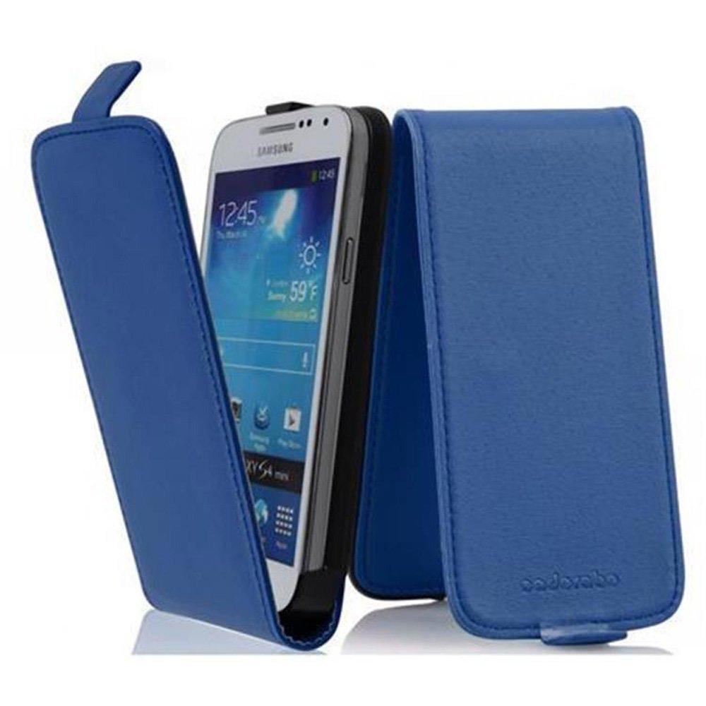 Cadorabo Hülle für Samsung Galaxy S4 MINI in BRILLIANT BLAU Handyhülle im Flip Design aus glattem Kunstleder Case Cover Schutzhülle Etui Tasche