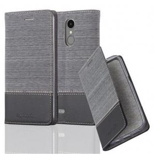 Cadorabo Hülle für LG K8 2017 in GRAU SCHWARZ Handyhülle mit Magnetverschluss, Standfunktion und Kartenfach Case Cover Schutzhülle Etui Tasche Book Klapp Style
