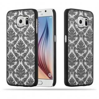 Samsung Galaxy S6 (NICHT für EDGE) Hardcase Hülle in SCHWARZ von Cadorabo - Blumen Paisley Henna Design Schutzhülle ? Handyhülle Bumper Back Case Cover