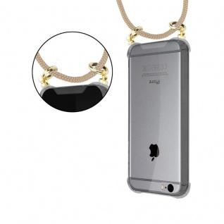 Cadorabo Handy Kette für Apple iPhone 6 PLUS / iPhone 6S PLUS in GLÄNZEND BRAUN - Silikon Necklace Umhänge Hülle mit Gold Ringen, Kordel Band Schnur und abnehmbarem Etui ? Schutzhülle - Vorschau 5