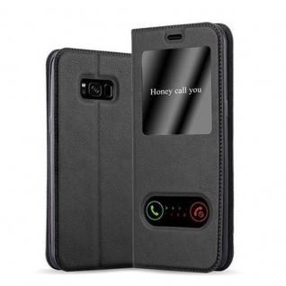 Cadorabo Hülle für Samsung Galaxy S8 in KOMETEN SCHWARZ - Handyhülle mit Magnetverschluss, Standfunktion und 2 Sichtfenstern - Case Cover Schutzhülle Etui Tasche Book Klapp Style