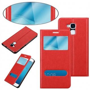 Cadorabo Hülle für Honor 5C in SAFRAN ROT - Handyhülle mit Magnetverschluss, Standfunktion und 2 Sichtfenstern - Case Cover Schutzhülle Etui Tasche Book Klapp Style - Vorschau 3