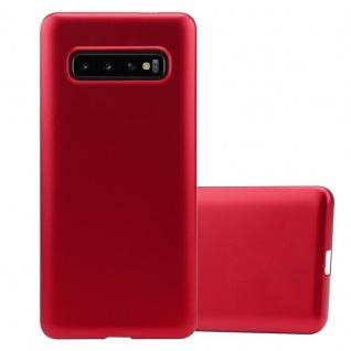 Cadorabo Hülle für Samsung Galaxy S10 PLUS in METALLIC ROT - Handyhülle aus flexiblem TPU Silikon - Silikonhülle Schutzhülle Ultra Slim Soft Back Cover Case Bumper