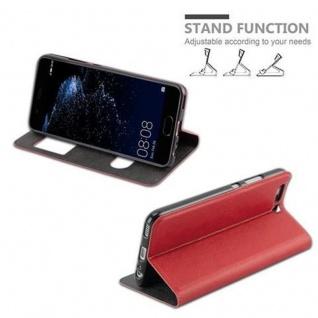 Cadorabo Hülle für Huawei P10 in SAFRAN ROT - Handyhülle mit Magnetverschluss, Standfunktion und 2 Sichtfenstern - Case Cover Schutzhülle Etui Tasche Book Klapp Style - Vorschau 5