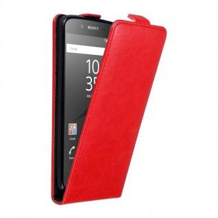 Cadorabo Hülle für Sony Xperia Z5 in APFEL ROT - Handyhülle im Flip Design mit unsichtbarem Magnetverschluss - Case Cover Schutzhülle Etui Tasche Book Klapp Style