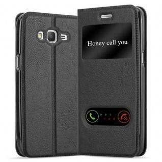 Cadorabo Hülle für Samsung Galaxy GRAND PRIME in KOMETEN SCHWARZ - Handyhülle mit Magnetverschluss, Standfunktion und 2 Sichtfenstern - Case Cover Schutzhülle Etui Tasche Book Klapp Style