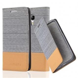 Cadorabo Hülle für Samsung Galaxy S4 MINI in HELL GRAU BRAUN - Handyhülle mit Magnetverschluss, Standfunktion und Kartenfach - Case Cover Schutzhülle Etui Tasche Book Klapp Style