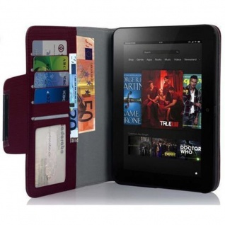 """Cadorabo Hülle für Kindle Fire (7, 0"""" Zoll) 2012 - Hülle in PFLAUMEN LILA ? Schutzhülle mit Standfunktion und Kartenfach - Book Style Etui Bumper Case Cover"""