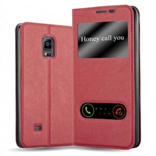 Cadorabo Hülle für Samsung Galaxy NOTE EDGE in SAFRAN ROT - Handyhülle mit Magnetverschluss, Standfunktion und 2 Sichtfenstern - Case Cover Schutzhülle Etui Tasche Book Klapp Style
