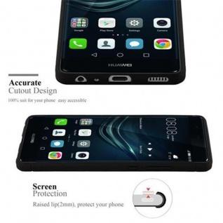 Cadorabo Hülle für Huawei P9 - Hülle in BRUSHED SCHWARZ - Handyhülle aus TPU Silikon in Edelstahl-Karbonfaser Optik - Silikonhülle Schutzhülle Ultra Slim Soft Back Cover Case Bumper - Vorschau 3