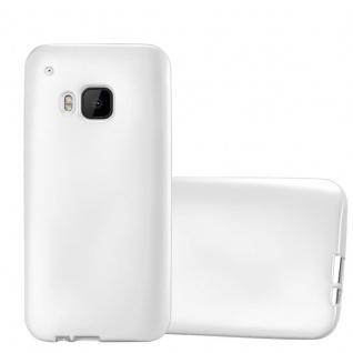 Cadorabo Hülle für HTC One M9 in METALLIC SILBER - Handyhülle aus flexiblem TPU Silikon - Silikonhülle Schutzhülle Ultra Slim Soft Back Cover Case Bumper