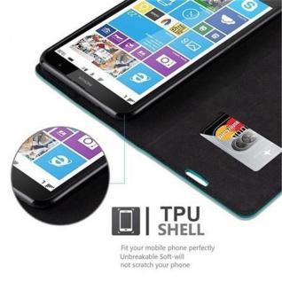 Cadorabo Hülle für Nokia Lumia 1320 in PETROL TÜRKIS - Handyhülle mit Magnetverschluss, Standfunktion und Kartenfach - Case Cover Schutzhülle Etui Tasche Book Klapp Style - Vorschau 4