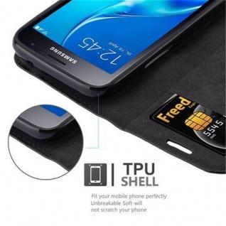 Cadorabo Hülle für Samsung Galaxy J1 MINI 2016 in NACHT SCHWARZ - Handyhülle mit Magnetverschluss, Standfunktion und Kartenfach - Case Cover Schutzhülle Etui Tasche Book Klapp Style - Vorschau 3