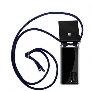 Cadorabo Handy Kette für Huawei P40 PRO in TIEF BLAU Silikon Necklace Umhänge Hülle mit Silber Ringen, Kordel Band Schnur und abnehmbarem Etui Schutzhülle