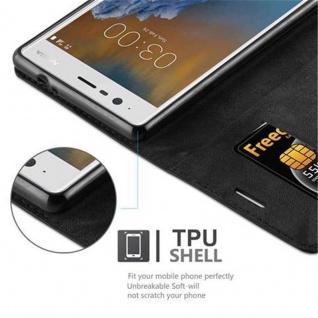 Cadorabo Hülle für Nokia 3 2017 in NACHT SCHWARZ - Handyhülle mit Magnetverschluss, Standfunktion und Kartenfach - Case Cover Schutzhülle Etui Tasche Book Klapp Style - Vorschau 3