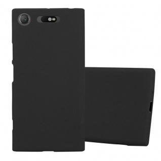 Cadorabo Hülle für Sony Xperia XZ1 in FROST SCHWARZ - Handyhülle aus flexiblem TPU Silikon - Silikonhülle Schutzhülle Ultra Slim Soft Back Cover Case Bumper