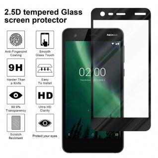 Cadorabo Vollbild Panzer Folie für Nokia 2 2017 - Schutzfolie in TRANSPARENT mit SCHWARZ - Gehärtetes (Tempered) Display-Schutzglas in 9H Härte mit 3D Touch Kompatibilität - Vorschau 4
