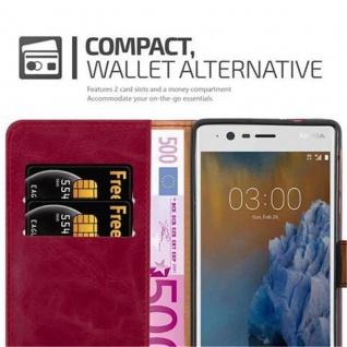 Cadorabo Hülle für Nokia 3 2017 in WEIN ROT ? Handyhülle mit Magnetverschluss, Standfunktion und Kartenfach ? Case Cover Schutzhülle Etui Tasche Book Klapp Style - Vorschau 3