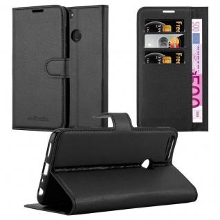 Cadorabo Hülle für Huawei P SMART 2018 / Enjoy 7S in PHANTOM SCHWARZ ? Handyhülle mit Magnetverschluss, Standfunktion und Kartenfach ? Case Cover Schutzhülle Etui Tasche Book Klapp Style