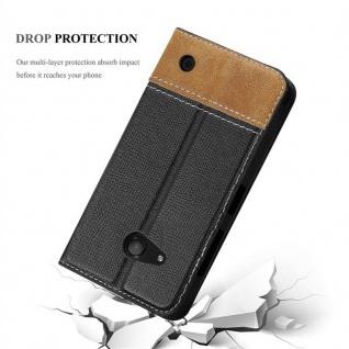 Cadorabo Hülle für Nokia Lumia 550 in SCHWARZ BRAUN ? Handyhülle mit Magnetverschluss, Standfunktion und Kartenfach ? Case Cover Schutzhülle Etui Tasche Book Klapp Style - Vorschau 4