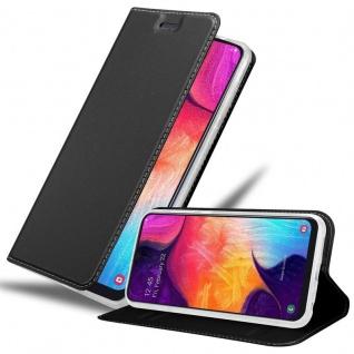 Cadorabo Hülle für Samsung Galaxy A50 in CLASSY SCHWARZ Handyhülle mit Magnetverschluss, Standfunktion und Kartenfach Case Cover Schutzhülle Etui Tasche Book Klapp Style
