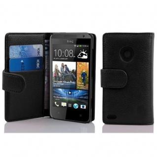 Cadorabo Hülle für HTC DESIRE 300 in OXID SCHWARZ ? Handyhülle aus strukturiertem Kunstleder mit Standfunktion und Kartenfach ? Case Cover Schutzhülle Etui Tasche Book Klapp Style